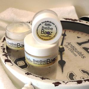Bye Bye Bagz Eye cream stacked with clock