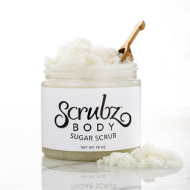 ScrubzBody Sugar Scrub Classic Jar with scoop and scrub