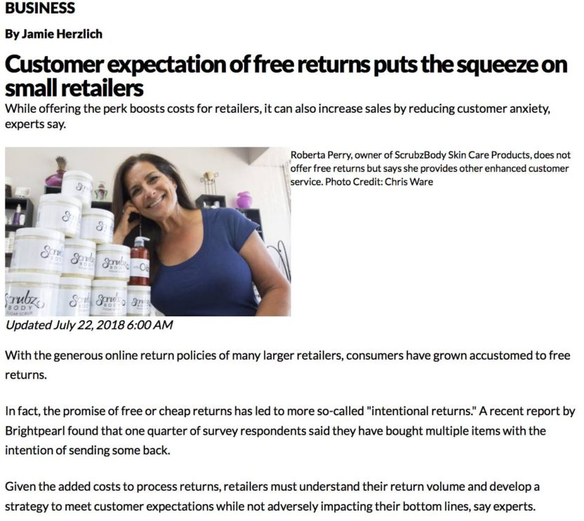 Newsday article on return policy