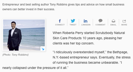 USA Today article with Tony Robbins